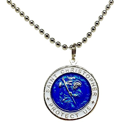 St. Christopher Surf Necklace, Large Pendant, Royal Blue with White Rim, 23 Inch Ball Chain