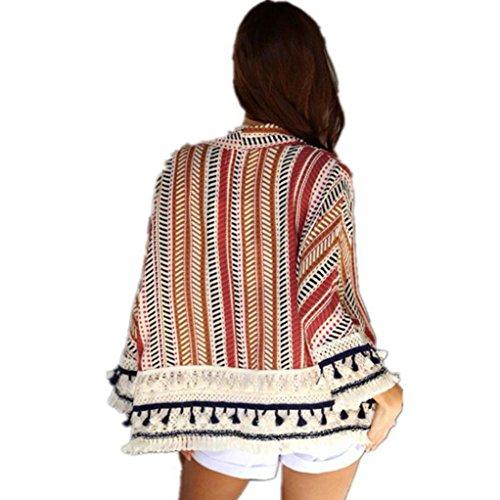 Arriba túnica Grande Casual Chaqueta de Ligera Playa Ligera la chaquetas quimono de de para Rojo Diaria Fiesta Punto de Elegante la Hiroo Costura Cubrir Rayada pP6zFwPqW