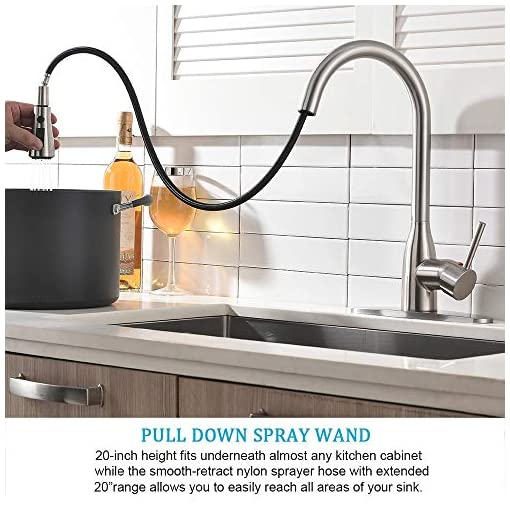 Kitchen Ufaucet Modern Commercial Lead-Free Solid Brass Single Lever Pause Botton Pull Out Sprayer Brushed Nickel Kitchen Faucet… modern sink faucets