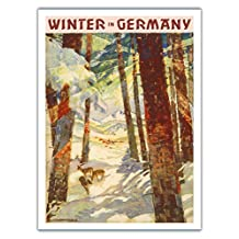 Winter In Germany - Deer in Snow Covered Forest - Vintage World Travel Poster by Werner and Maria von Axster-Heudtlaß c.1936 - Fine Art Print - 44in x 60in