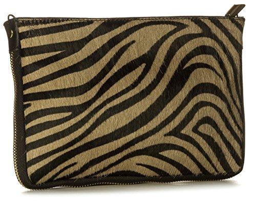Tiger Clutch (Big Handbag Shop Small Genuine Leather with Calf Fur Zip Clutch Shoulder Bag (V-145-S Tiger))