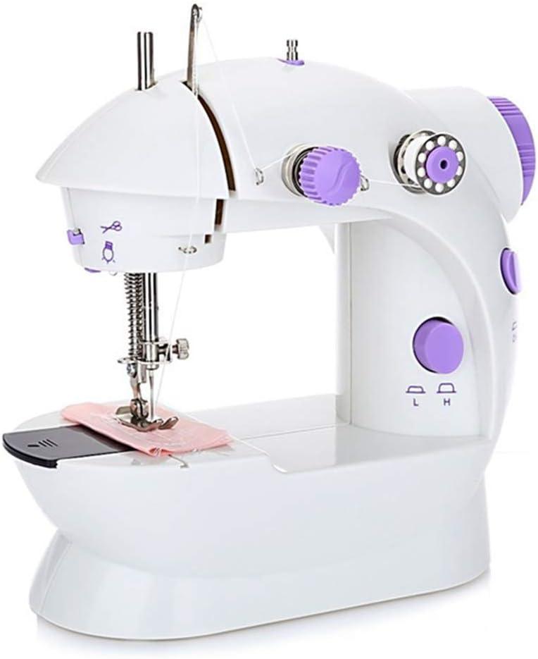 Mini Máquina de Coser Máquina de Coser Eléctrica Básica Portátil para Principiantes Costura Doméstica de Mano con luz LED Incorporada + 4 x Bobinas + Pedal + Aguja y Enhebrador