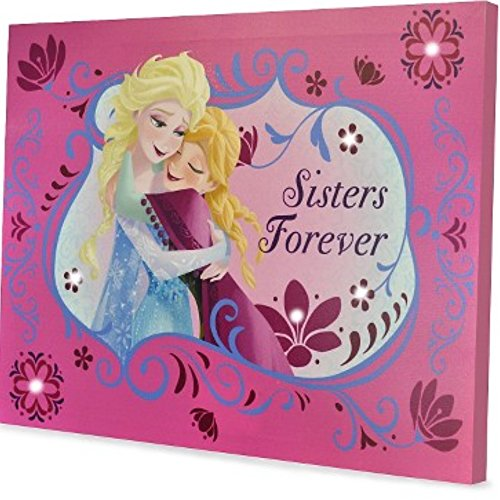 Disney Frozen Room Decor - LED Canvas Wall Art - Sisters Forever 11.5x 15.75