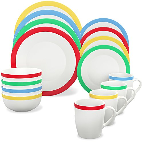 Vremi 16 Piece Dinnerware Set Service for 4 - Round Porcelain Dinner Plates Bowls Mugs and Dessert Dishes - Casual White Dinnerware with Colored Stripe Trim - Microwave and Dishwasher Safe (Ideas Breakfast Table Decor)