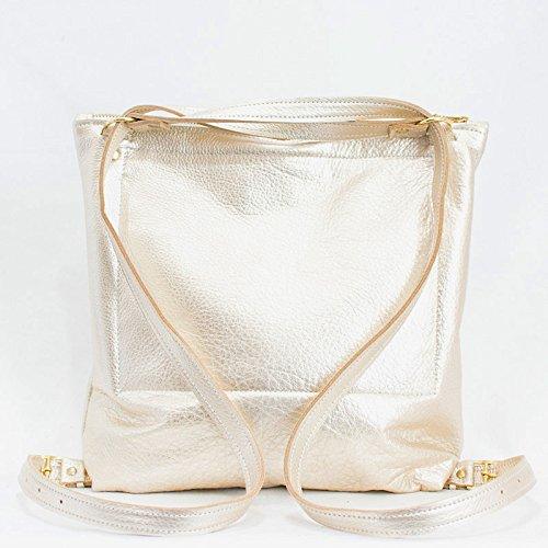Leather Backpack Convertible - Gold Backpack Purse - Metallic Leather Backpack Converts to Shoulder Bag - Shoulder Bag with Pockets