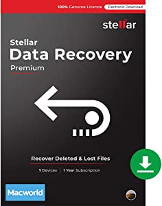 Stellar Data Recovery Software   for Mac   Premium   Version 10.0   Recover Deleted Data, Photos, Videos from Mac   1 Device, 1 Yr Subscription   Instant Download (Email Delivery)