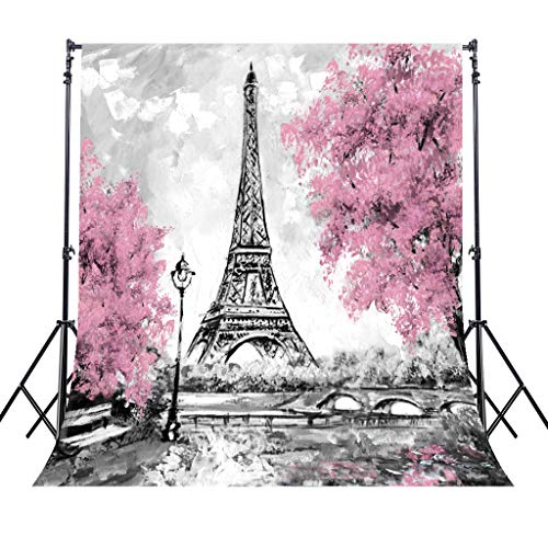 Riyidecor Eiffel Tower Backdrop Gray Paris Photography Background Pink Black and White 5x7 Feet Decoration Celebration Props Party Photo Shoot Backdrop Blush Vinyl Cloth