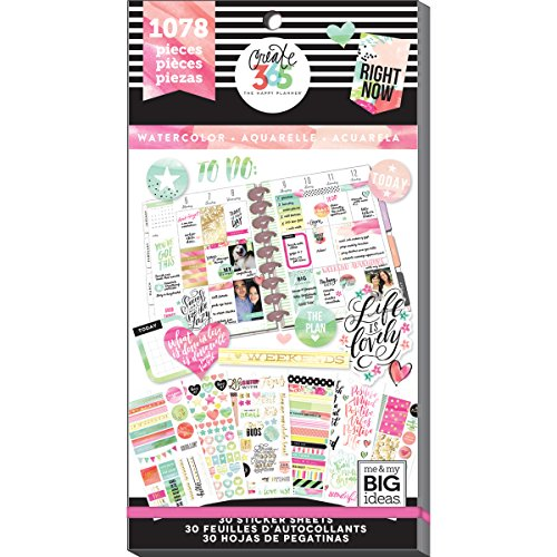 me & my BIG ideas  PPSV-18 Create 365 The Happy Planner Sticker Value Pack Planner, Watercolor ()