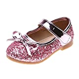 Tantisy  Baby Girls Dress Shoes Mary Jane Round-Toe Bowknot Glitter Ballerina Flat Shoes Chic Little Princess Sandals Pink
