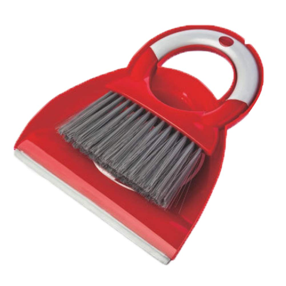 Luckybaby Mini Small Dustpan and Brush Set, Broom and Dustpan Set, Desktop Cleaning Small Broom,Handheld Broom and Upright Dustpan Set for Sweeping Home, Office (Red)