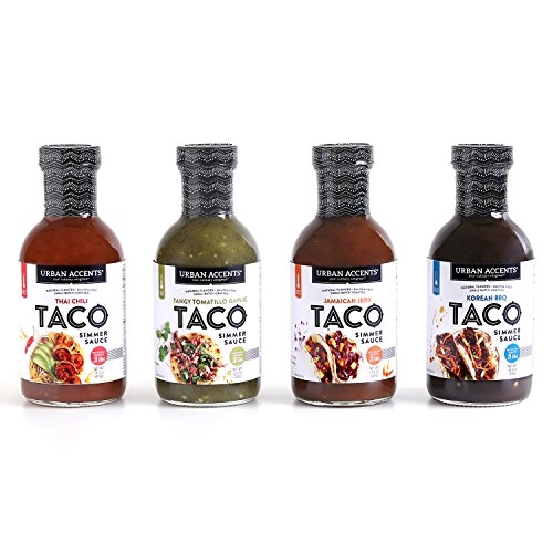 Gluten Free Global Taco Fusion Sauces - Variety Pack (1) Jamaican Jerk, (1) Korean BBQ ,(1) Tangy Tomatillo Garlic, and (1) Thai Chili - Urban Accents, Set of 4