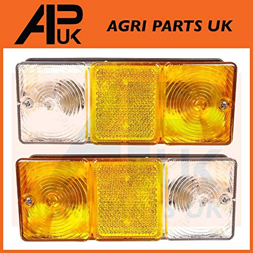 APUK PAIR of Front Side Indicator Flasher Parking Lights Lamp Compatible with Massey Ferguson Tractor: