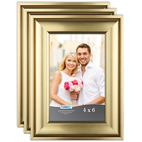 Icona Bay 4x6 Picture Frame (3 Pack, Gold), Gold Photo Frame 4 x 6, Wall Mount or Table Top, Set of 3 Elegante Collection]()