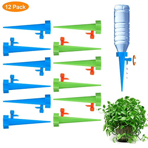 Fostoy Plant Waterer, 12 PCS Self Plant Watering Spikes System with Slow Release Control Valve Switch, Automatic Plant Waterer Device Irrigation Drippers for Outdoor Indoor Flower or Vegetables (House Plant Watering System)
