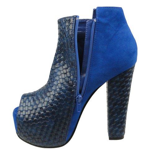 Stivaletti Da Donna In Pelle Intrecciata E Zeppe In Pelle Scamosciata Blu