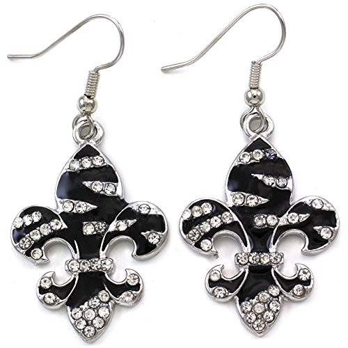 Fleur De Lis Stars (SoulBreezeCollection Zebra Stripe Animal Print Dangle Drop Earrings Rhinestone Jewelry Charm (Fleur de Lis))