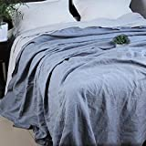 Flat Sheet Only- Heavy 165 GSM, Vintage Style With Natural Wrinkle,Super Soft Microfiber Bed Sheet (Queen, Light blue)