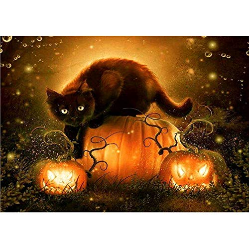 5D DIY Diamond Painting,[Not Full Drill] by Number Kits Crafts & Sewing Cross Stitch,Wall Stickers for Living Room Decoration,Halloween Decor Cartoon Pumpkin Cat]()