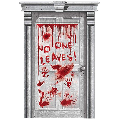 Haunted Asylum Halloween Dripping Blood Door Decoration, Plastic, 65