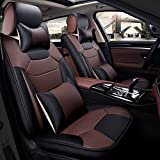 Super PDR 13pcs Microfiber Leather Universal Fit seat Covers Set for Cars Full Set 5 Seats,Anti-Slip Backing, Airbag Compatible(Coffee L)