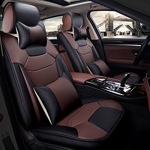 Super PDR 13pcs Microfiber Leather Universal Fit seat Covers Set for Cars Full Set 5 Seats,Anti-Slip Backing, Airbag Compatible(Coffee ()