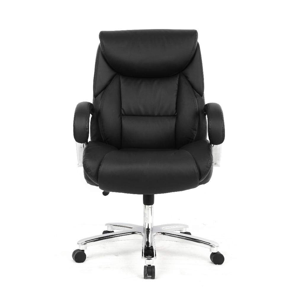 Desk Chairs Office Products Moustache Big And Tall High Back Executive Bonded Leather Chair For Office Or Computer Task Desk Adjustable Swivel Basic Chair With Armrest 400 Lb Weight Capacity Arms Rest Brown