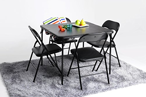 Dining Set FurnitureR Foldable Metal Frame Dining Table Set for 4 on Wheels