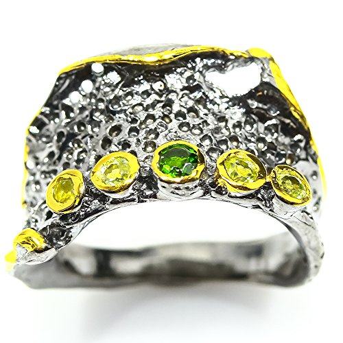Pretty!! NATURAL CHROME DIOPSIDE RING SIZE 7.25 US