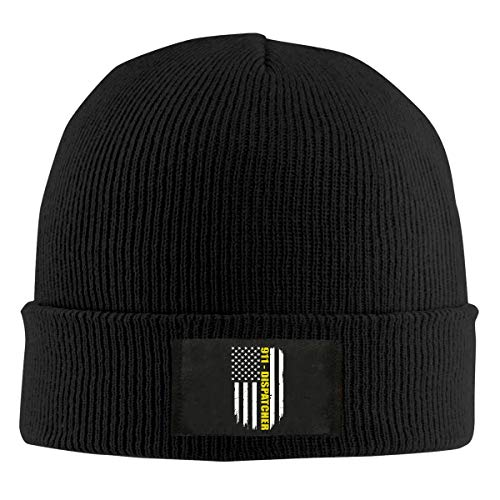 DLOAHJZH-Q Adult Unisex 911 Dispatcher Gift Thin Gold Line Flag Outdoor Beanies