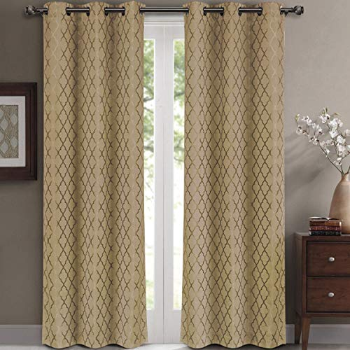 Willow Jacquard Taupe Grommet Blackout Window Curtain Panels, Pair / Set of 2 Panels, 42x108 inches Each, by Royal Hotel (Window Panel Taupe)