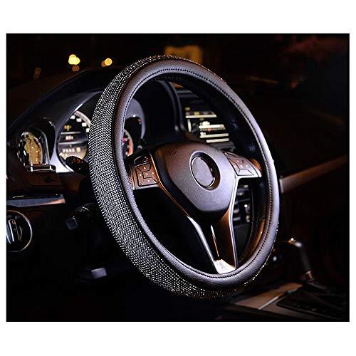 - Siyibb Black Rhinestones Leather Steering Wheel Cover Sparkly Diamond Steering Case