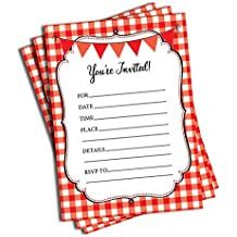 50 Red and White Party Invitations and Envelopes (Large Size 5x7) - All ages - Pizza Party, Picnic, Summer BBQ, Cookout, Family Reunion, Beach Party