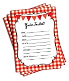 50 Party Invitations (5x7) - Red Gingham