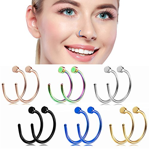 Nose Hoop Rings,18G Nose Rings 316L Stainless Steel Body Jewelry Piercing Nose Ring Hoop Lip Ear Ring (12pcs) (B: 12Pcs (18G 10mm Outer Diameter))