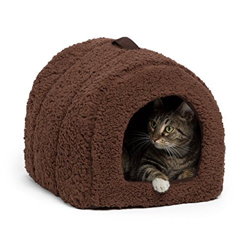 Best Friends by Sheri Pet Igloo Hut, Sherpa, Brown - Cat and Small Dog Bed Offers Privacy and Warmth for Better Sleep - 17x13x12