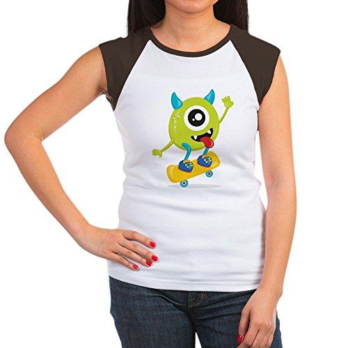 Royal Lion Women's Cap Sleeve T-Shirt One Eyed Monster on Skateboard - Brown/White, M ()