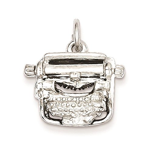 925 Sterling Silver Typewriter 3-D Charm Pendant 16mm x 18mm ()