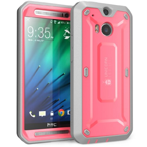 HTC One M8 Case, SUPCASE [Heavy Duty] HTC One M8 Case 2014 Release [Unicorn Beetle PRO Series] Full-body Rugged Hybrid Protective Case with Built-in Screen Protector (Pink/Gray), Dual Layer Design + Impact Resistant Bumper (Htc One M8 Otter Box Clip)