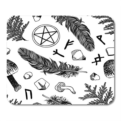 Emvency Mouse Pads Boho Witchcraft Pattern Ritual Things Wicca Attributes for Young Witch Goth Mouse pad 9.5
