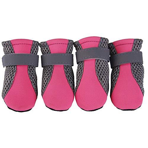 (Aland 4Pcs Pet Dog Shoes Non-Slip Soft Sole Breathable Mesh Adjustable Straps Boots Pink XL)