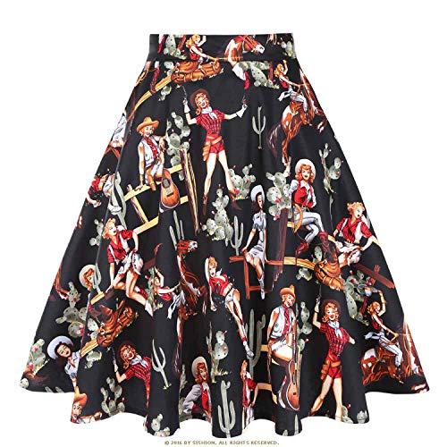 Vintage Skirts Womens 2019 High Waist Retro Women SkirtDaily Summer Skirt,Black Cowgirl,S ()