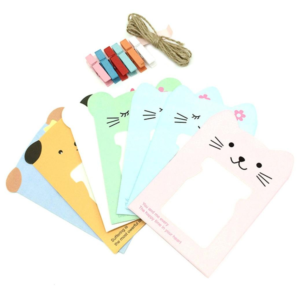 Gotd 6pcs Wall Deco DIY Creative Mini Paper Photo Frame With Mini Colored Clothespins And Twine -Fit Instax Mini Film, 3 inch