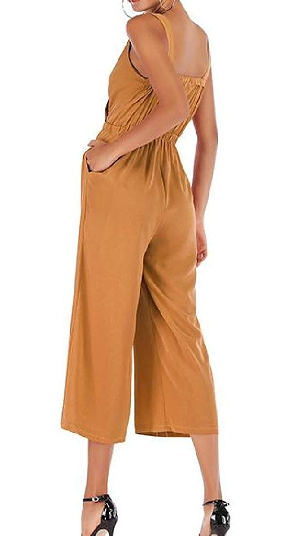 Macondoo Womens Summer V-Neck Backless Pocket Chiffon Sleeveless Ankle Jumpsuits