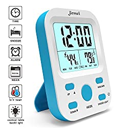 Alarm Clock Battery Operated, Jiemei Digital Alarm Clocks for Kids and Adults with Snooze Function, LCD Large Display, Smart Backlight (Blue)