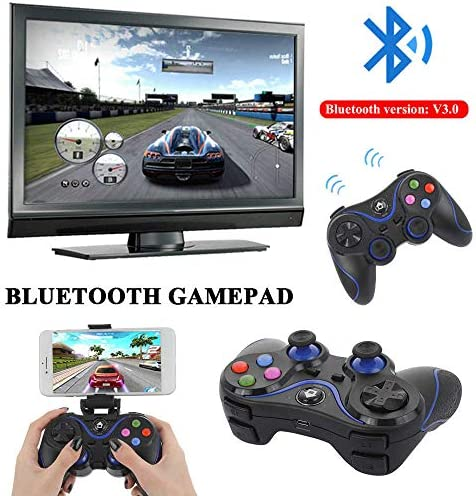 Wireless Mobile Smart TV Game Controller with Dongle (Bluetooth Receiver) and Mobile Bracket Gamepad Support iOS / Android / Smart T.V. / PS3 / PC – Easy To Connect Joy pad Go Straight To Play Games