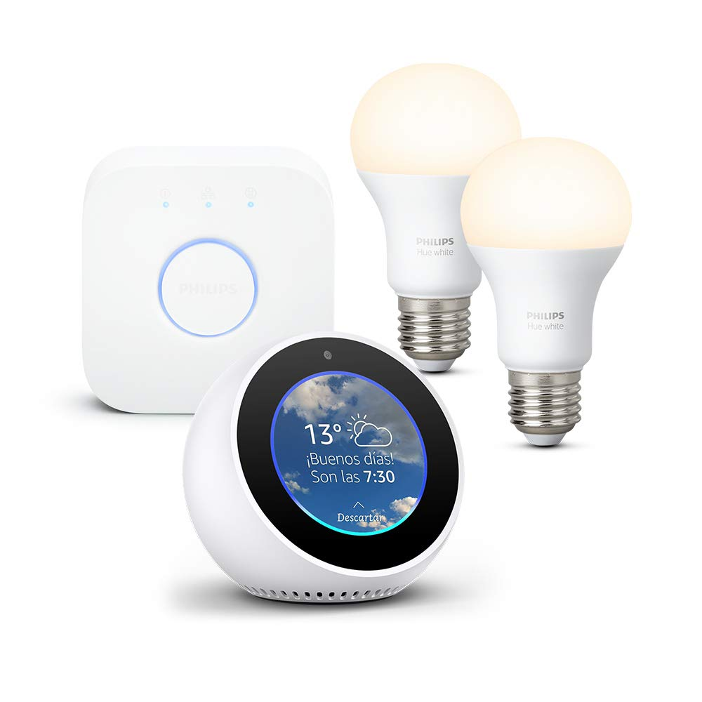 Amazon Echo Spot, blanco + Philips Hue White Kit - Kit de 2 bombillas LED E27 y puente