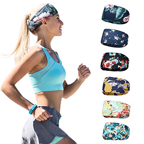 BSTPOWER Sweatbands Bohemia Flower Sports Headbands Wicking Stretchy Head Wrap for Yoga/Cycling/Running/Fitness Exercise Head Scarf Pullover for Women (6 Pack)
