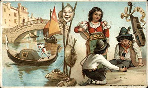 (Vintage Advertising Postcard: Venetian Gondola Scene, Carnicval Masks and Italian Children Gambling)