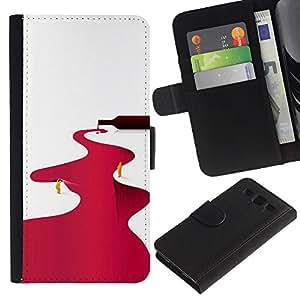 JackGot ( Río Vino Tinto Minimalista Blanca ) Samsung Galaxy S3 III i9300 i747 la tarjeta de Crédito Slots PU Funda de cuero Monedero caso cubierta de piel