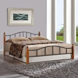FurnitureKraft Kansas Metal Queen Size Double Bed with Wooden Leg